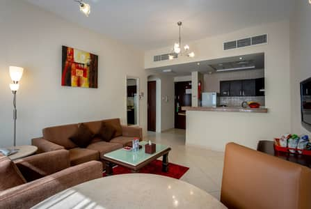 2 Bedroom Hotel Apartment for Rent in Al Barsha, Dubai - Living Area
