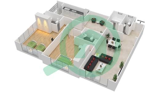 المخططات الطابقية لتصميم النموذج D شقة 2 غرفة نوم - برج ستايل