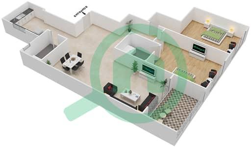 المخططات الطابقية لتصميم النموذج A1 شقة 2 غرفة نوم - برج روز