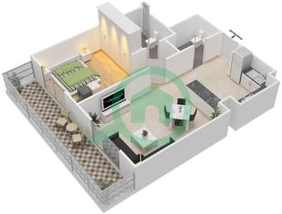 المخططات الطابقية لتصميم النموذج 2 شقة 1 غرفة نوم - بيلا روز