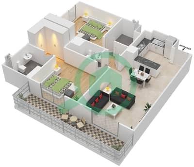 المخططات الطابقية لتصميم النموذج 3 شقة 2 غرفة نوم - بيلا روز