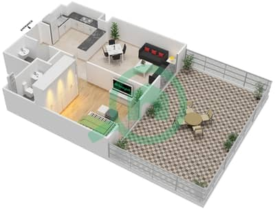 المخططات الطابقية لتصميم النموذج 5 شقة 1 غرفة نوم - بيلا روز