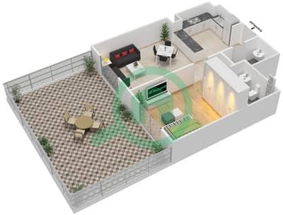 المخططات الطابقية لتصميم النموذج 6 شقة 1 غرفة نوم - بيلا روز