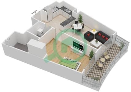 المخططات الطابقية لتصميم النموذج 9 شقة 1 غرفة نوم - بيلا روز