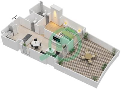 المخططات الطابقية لتصميم النموذج 11 شقة 1 غرفة نوم - بيلا روز