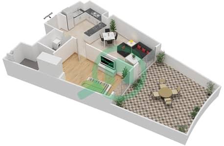 المخططات الطابقية لتصميم النموذج 10 شقة 1 غرفة نوم - بيلا روز