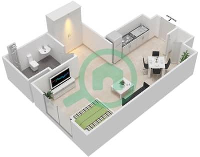 المخططات الطابقية لتصميم النموذج 15 شقة 1 غرفة نوم - بيلا روز