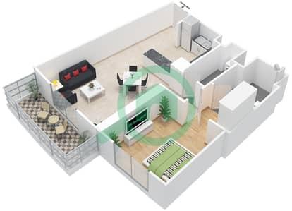 المخططات الطابقية لتصميم النموذج 18 شقة 1 غرفة نوم - بيلا روز