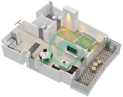 المخططات الطابقية لتصميم النموذج 12 شقة 1 غرفة نوم - بيلا روز
