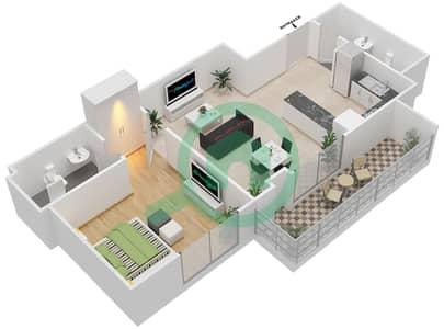 المخططات الطابقية لتصميم النموذج 17 شقة 1 غرفة نوم - بيلا روز