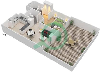 المخططات الطابقية لتصميم النموذج 13 شقة 1 غرفة نوم - بيلا روز