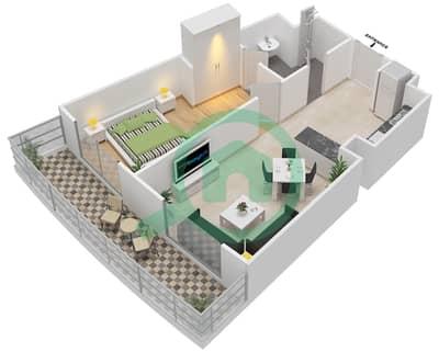 المخططات الطابقية لتصميم النموذج 16 شقة 1 غرفة نوم - بيلا روز