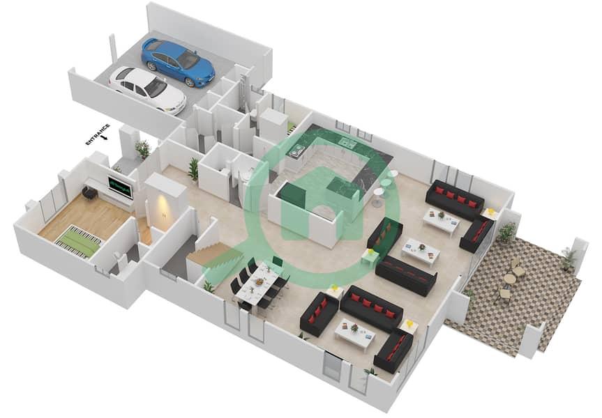 Legacy - 4 Bedroom Villa Type 4V Floor plan Ground Floor interactive3D