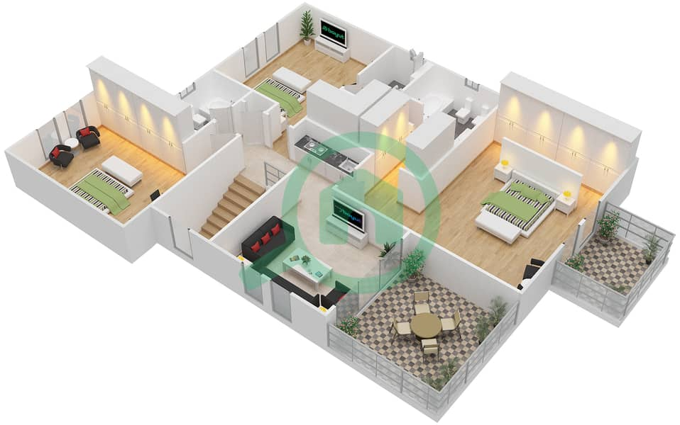 Legacy - 4 Bedroom Villa Type 4V Floor plan First Floor interactive3D
