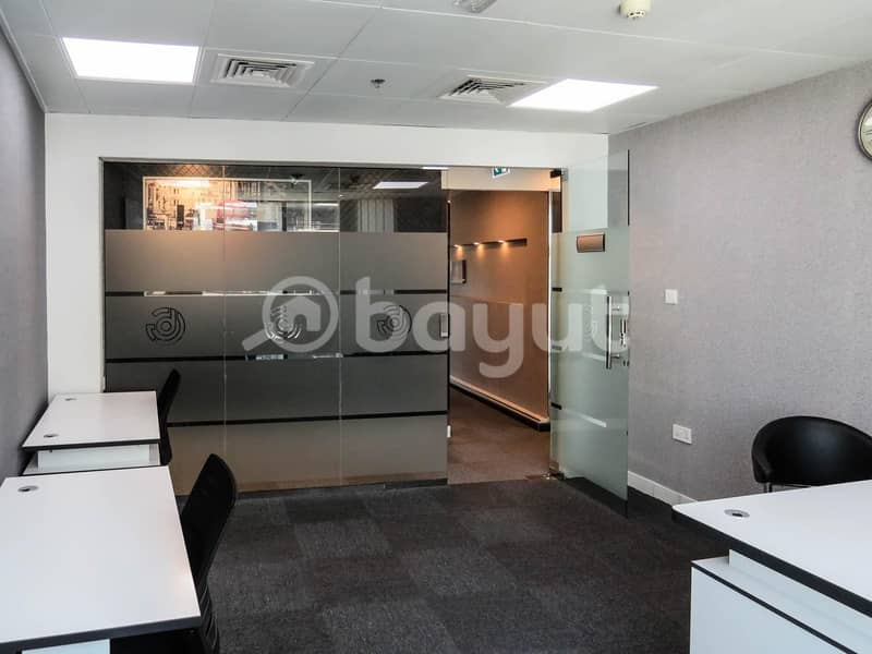 10 Fully Furnished office Amazing View in Business Bay(Free PARKING/DEWA & EJARI)NO COMMISSION