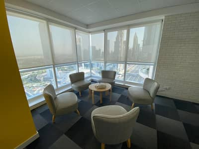 Office for Rent in Sheikh Zayed Road, Dubai - Fitted Office with SZR View| Price Negotiable