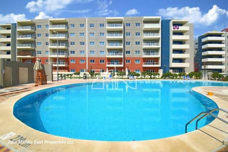 1 Bedroom Flat for Rent in Al Reef, Abu Dhabi - Pool View! Well Maintained 1 BR Apt with Balcony