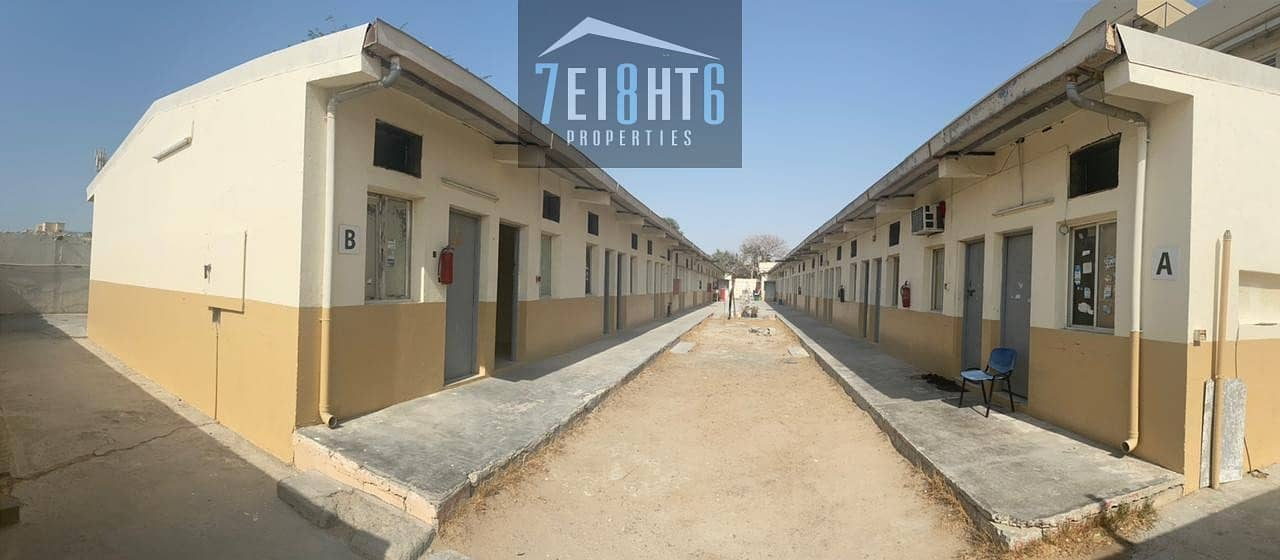 58 Rooms sharing labour camp with 4 person capacity + 24 bathroom + 12 washbasins + 1 kitchens