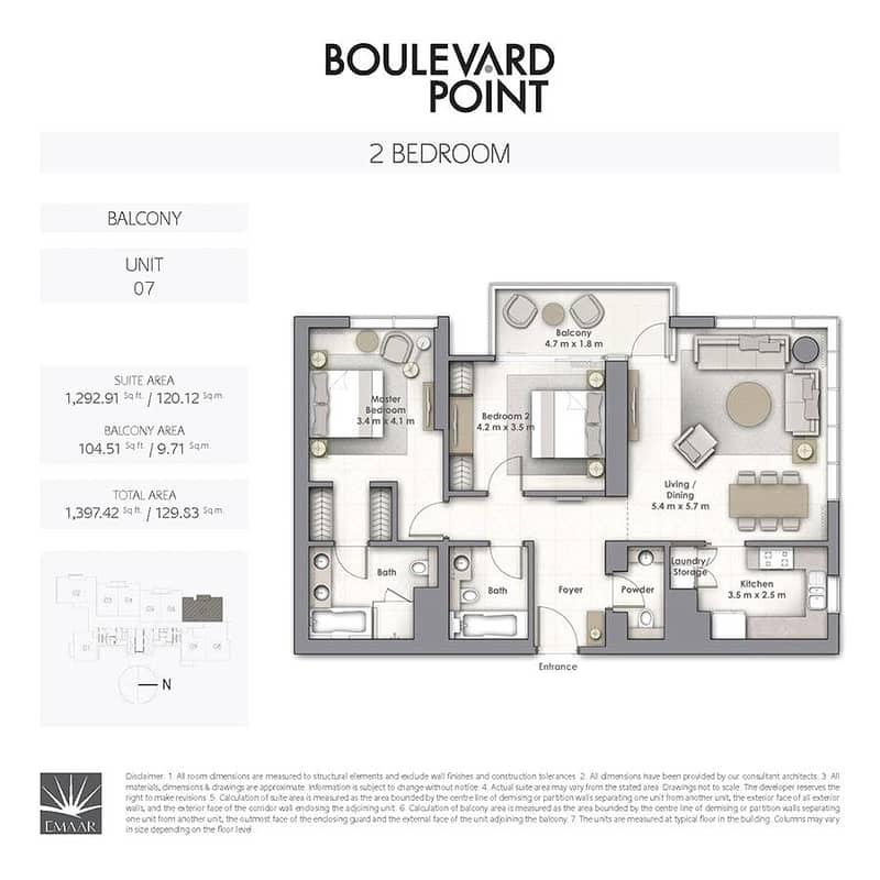 10 Boulevard Point | Two Bedroom | Burj View