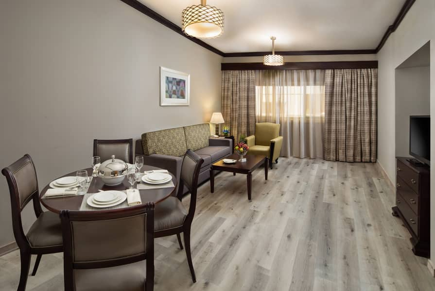 Monthly or Yearly Stay on Fully Furnished rooms  attached with Kitchen & bathroom including DEWA , Gym, Pool, Sauna & Steam Room, WIFI, Nearby Supermarkets & Metro / Bus stations
