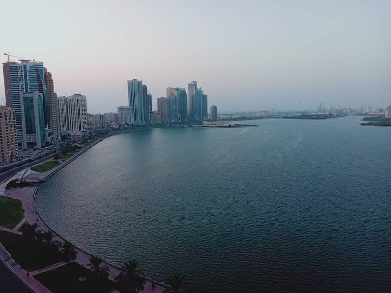 No Deposit, Chiller free luxury 3bhk apartment with all master at buhaira corniche sharjah