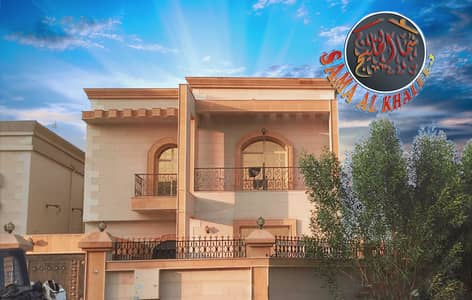 5 Bedroom Villa for Sale in Al Rawda, Ajman - Luxury villa with full stone corner of two streets for sale - opposite the mosque