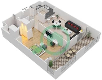 المخططات الطابقية لتصميم النموذج B-ANSAM 4 شقة 1 غرفة نوم - أنسام