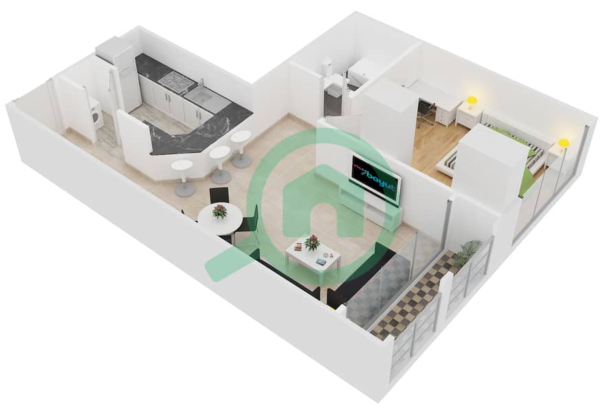 Lakeside Residence - 1 Bedroom Apartment Type A Floor plan interactive3D