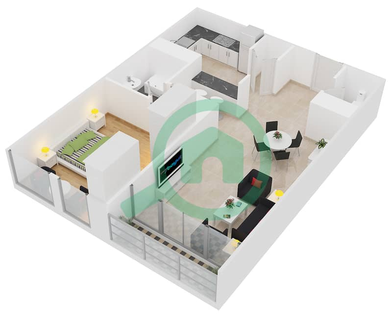 Lakeside Residence - 1 Bedroom Apartment Type B Floor plan interactive3D