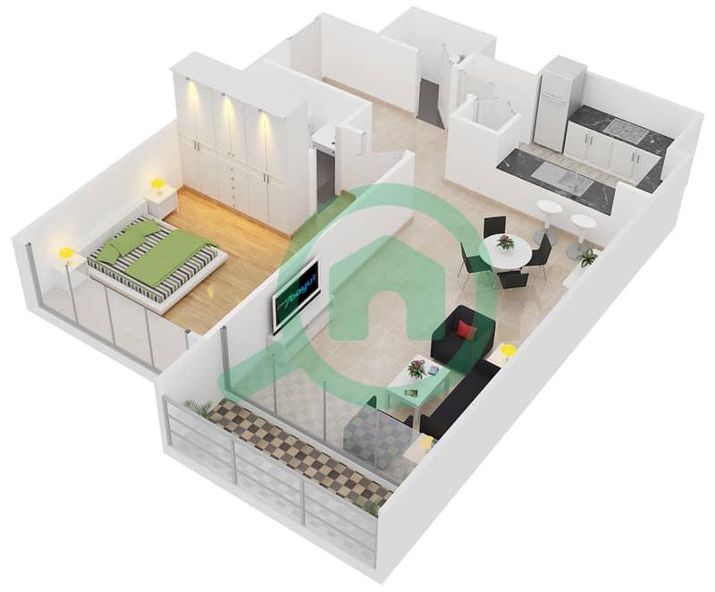 Lakeside Residence - 1 Bedroom Apartment Type C1 Floor plan interactive3D