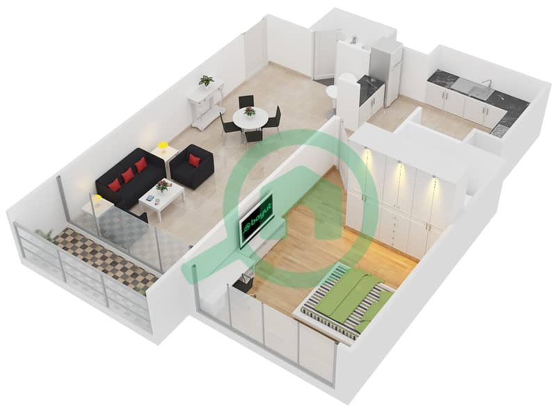 Lakeside Residence - 1 Bedroom Apartment Type D2 Floor plan interactive3D