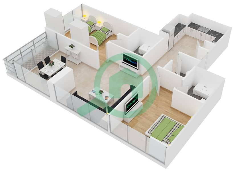 Lakeside Residence - 2 Bedroom Apartment Type F Floor plan interactive3D