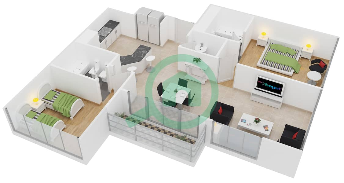 Lakeside Residence - 2 Bedroom Apartment Type H Floor plan interactive3D