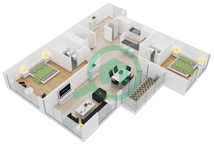 Lakeside Residence - 2 Bedroom Apartment Type G1 Floor plan interactive3D