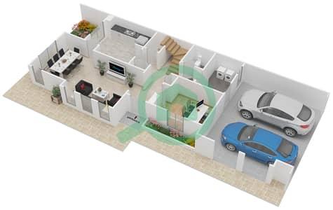 المخططات الطابقية لتصميم النموذج 3EL فیلا 3 غرف نوم - الينابيع 4
