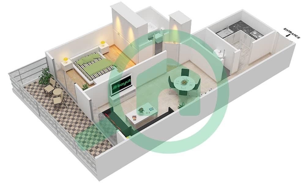 المخططات الطابقية لتصميم الوحدة 4 FLOOR 7-41 شقة 1 غرفة نوم - برج لافندر interactive3D