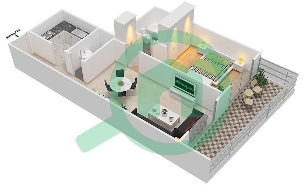 المخططات الطابقية لتصميم الوحدة 5 FLOOR 7-41 شقة 1 غرفة نوم - برج لافندر interactive3D