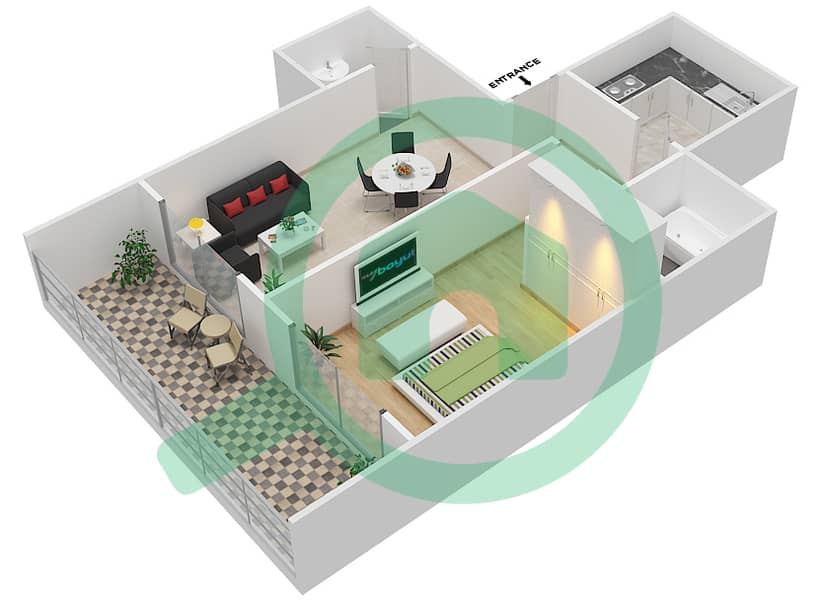 المخططات الطابقية لتصميم الوحدة 13 FLOOR 42-46 شقة 1 غرفة نوم - برج لافندر interactive3D