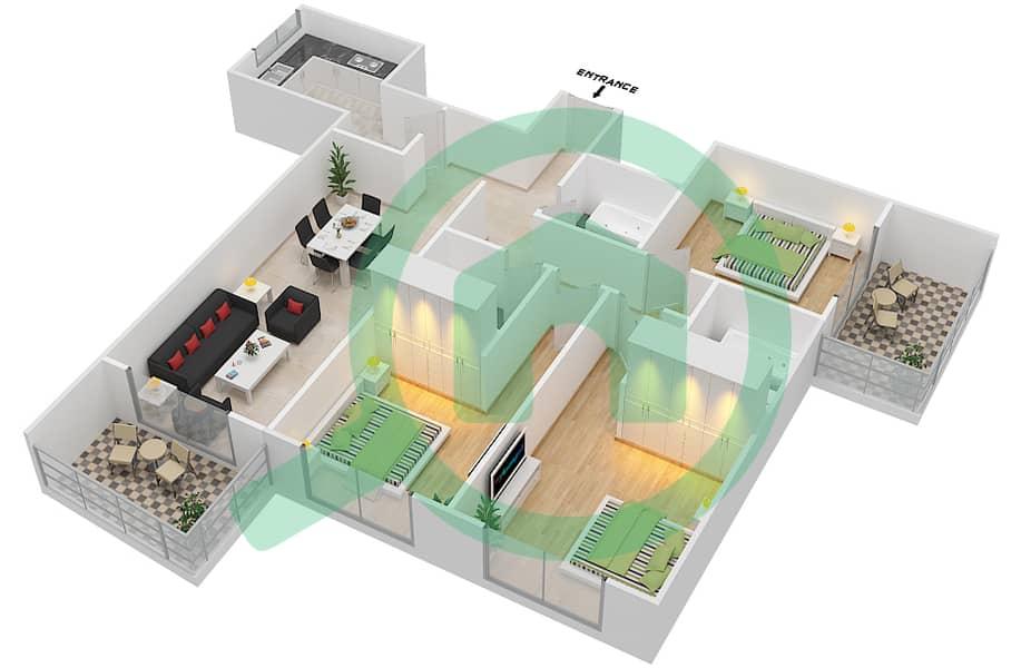 المخططات الطابقية لتصميم الوحدة 5 FLOOR 42-46 شقة 3 غرف نوم - برج لافندر interactive3D