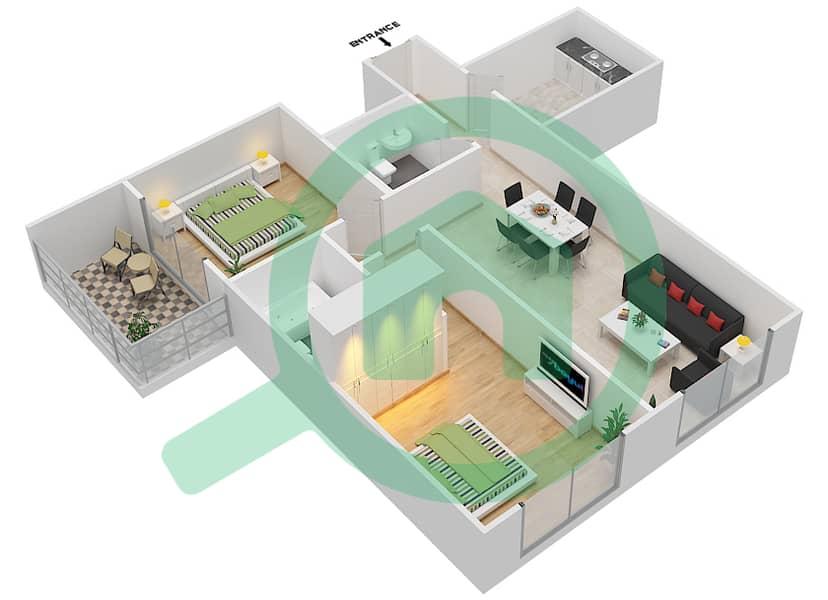 المخططات الطابقية لتصميم الوحدة 3 FLOOR 7-41 شقة 2 غرفة نوم - برج لافندر interactive3D