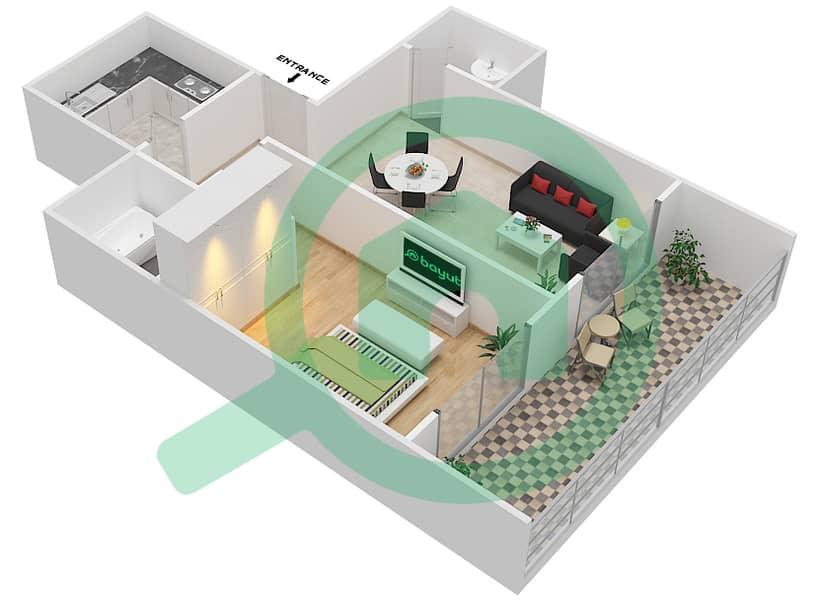 المخططات الطابقية لتصميم الوحدة 2 FLOOR 7-41 شقة 1 غرفة نوم - برج لافندر interactive3D