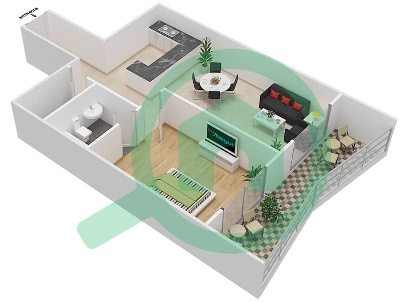 المخططات الطابقية لتصميم الوحدة 4 FLOOR 42-46 شقة 1 غرفة نوم - برج لافندر interactive3D