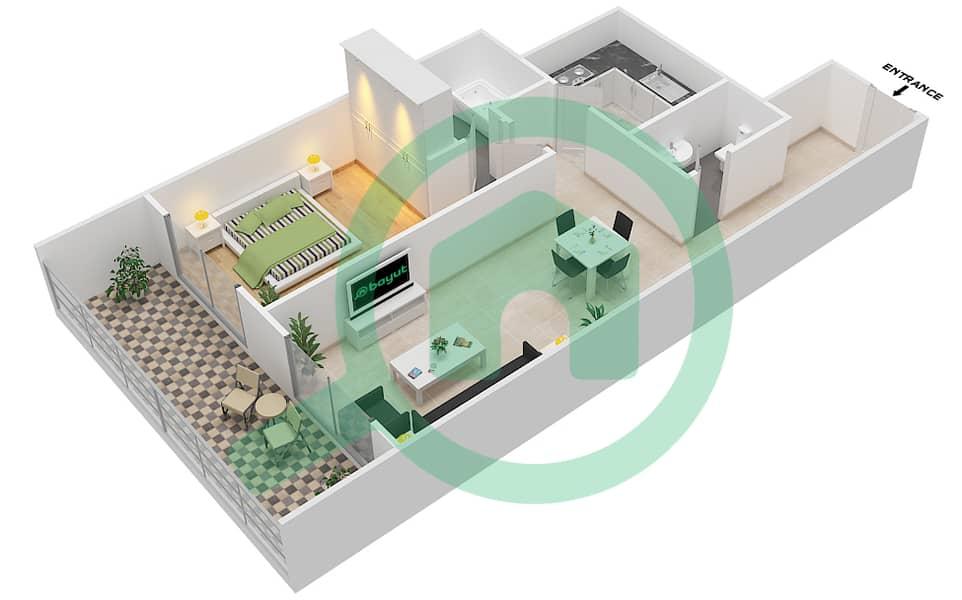 المخططات الطابقية لتصميم الوحدة 9 FLOOR 7-41 شقة 1 غرفة نوم - برج لافندر interactive3D