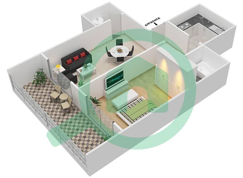 المخططات الطابقية لتصميم الوحدة 6 FLOOR 42-46 شقة 1 غرفة نوم - برج لافندر interactive3D