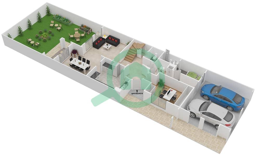 المخططات الطابقية لتصميم النموذج 1M فیلا 3 غرف نوم - الينابيع 8 interactive3D