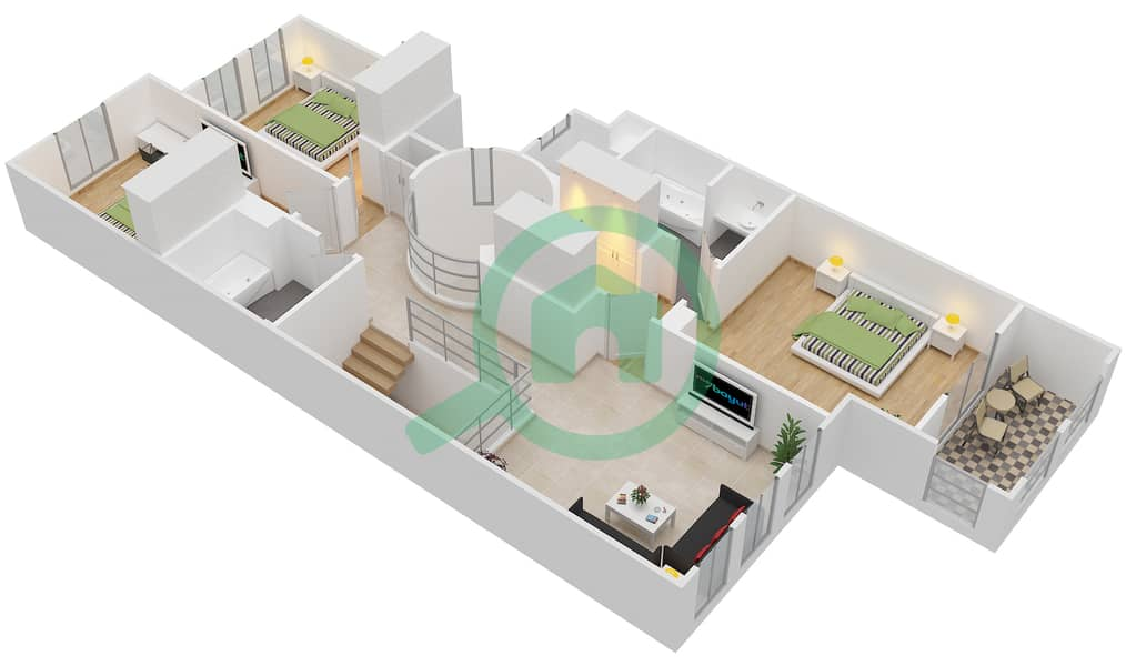 The Springs 8 - 3 Bedroom Villa Type 1M Floor plan interactive3D