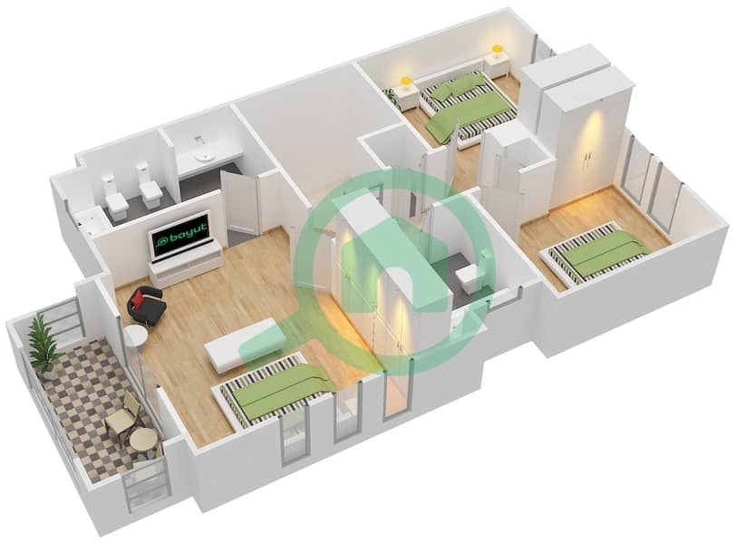 The Springs 8 - 3 Bedroom Villa Type 3E Floor plan interactive3D