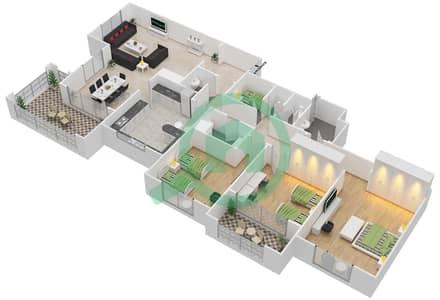 المخططات الطابقية لتصميم النموذج B-ANSAM 4 شقة 3 غرف نوم - أنسام