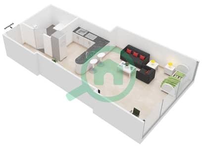 Al Jawhara Residences - Studio Apartment Type 16 Floor plan