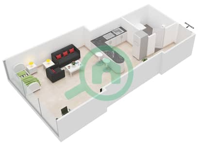 Al Jawhara Residences - Studio Apartment Type 17 Floor plan